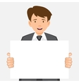 Business man keeps big white card vector image vector image