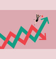 business woman losing her balance on stock market vector image vector image