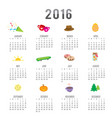 calendar 2016 cartoon cute vector image vector image
