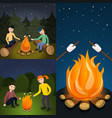campfire marshmallow banner set cartoon style vector image