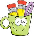 Cartoon smiling cup holding pencils and pens vector image vector image