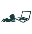 child and notebook vector image vector image