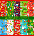 christmas holiday seamless patterns vector image
