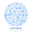 cloud computing technology concept in circle vector image vector image