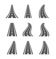 curved road symbols highway and roadway vector image