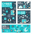 cyber security and protection line art info poster vector image