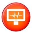 Electrocardiogram monitor icon flat style vector image vector image