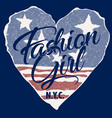 fashion girl with usa heart flag background vector image vector image