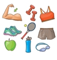 Flat Icons Set of Fitness Tools and vector image