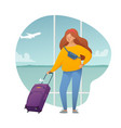girl with a suitcase at airport a young woman vector image