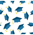 Graduation cap seamless pattern background icon vector image