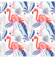 hand drawing seamless pattern with pink flamingo vector image vector image