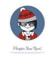 Holiday card Hipster New Year with Santa Claus in vector image vector image