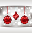 Holiday glowing card with Christmas balls vector image vector image
