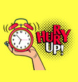 hurry up pop art style vector image vector image