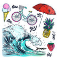icons set of summer traveling vector image vector image