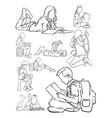 kids reading book line art vector image vector image