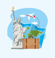 liberty statue with global map and baggage vector image vector image
