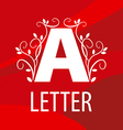 Logo letter A with floral patterns on a red vector image vector image