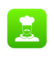 male chef cook icon digital green vector image vector image