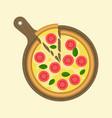 margarita pizza and slice piece vector image vector image