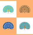 peacock icon set in flat and line styles vector image