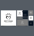 pet paw logo abstract design and business card vector image