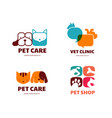 Pet shop animals veterinary clinic dog and cat