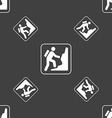rock climbing sign Seamless pattern on a gray vector image vector image