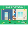 Room repair in home Interior renovation in vector image