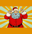 santa claus pointing finger up vector image vector image