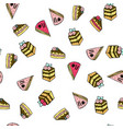 seamless pattern with doodle sweet cakes vector image vector image