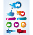 set of like stickers with hands and hearts vector image