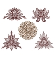 Set of mandalas lotus and decorative elements for vector image
