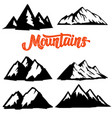 set of mountain icons isolated on white vector image