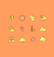 set simple line icons weather vector image vector image