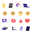 set social media icons emoji smiles expressing vector image
