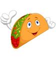 Taco cartoon giving thumb up vector image