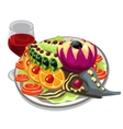 Tasty prepared fish with vegetables and red wine vector image vector image