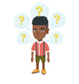 thinking african-american boy with question marks vector image vector image