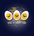 three boiled eggs world egg day card vector image
