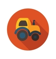 Tractor flat icon with long shadow vector image