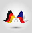 two crossed german and czech flags vector image vector image