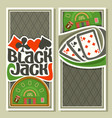 vertical banners of black jack for text vector image vector image