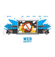 web safety truck spam cyber protection flat vector image