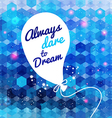 White drawn balloon with message on the blue vector image vector image