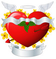 winged heart banner with arrow and flower vector image