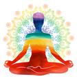yoga rainbow watercolor silhouette vector image vector image