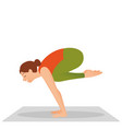 young woman working out indoors doing yoga vector image vector image
