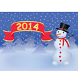 background with snowman holding banner vector image vector image
